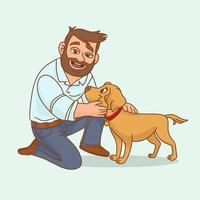 homme avec chien labrador vecteur