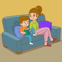 mère et fils lisant un livre ensemble vecteur