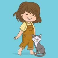 heureuse mignonne petite fille de cinq ans avec son chat vecteur