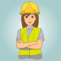 constructeur de jeune femme vecteur