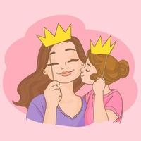 maman et fille avec des couronnes vecteur