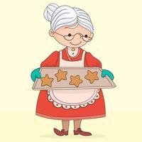 grand-mère avec des cookies vecteur