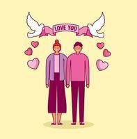 célébration de la saint valentin avec les amoureux et les colombes