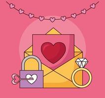célébration de la saint valentin avec enveloppe et coeur
