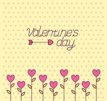 célébration de la saint valentin avec des fleurs de coeurs