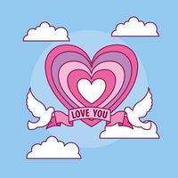 célébration de la saint valentin avec coeur et colombe