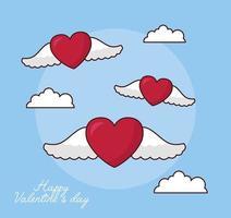 célébration de la saint valentin avec des coeurs volant