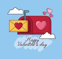 célébration de la saint valentin avec enveloppe dans la boîte aux lettres