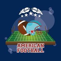 affiche de sport de football américain avec ballon et casque vecteur