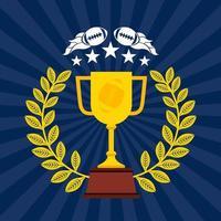 affiche de sport de football américain avec coupe du trophée vecteur
