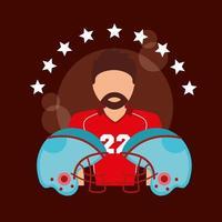 affiche de sport de football américain avec joueur et casques vecteur