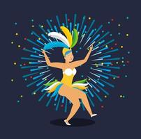 fille brésilienne dans un costume de carnaval dansant vecteur