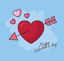célébration de la saint valentin avec coeur et flèche