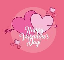célébration de la saint valentin avec coeurs et flèche