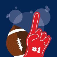 affiche de sport de football américain avec ballon et premier gant vecteur