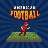 affiche de sport de football américain avec joueur au camp vecteur