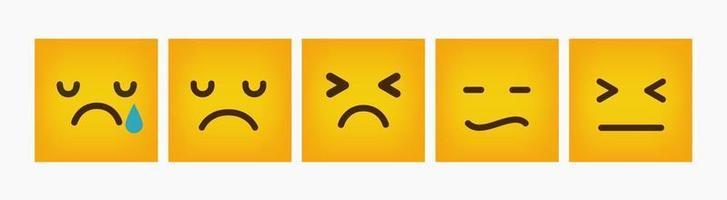 Ensemble plat carré de conception de réaction émoticône