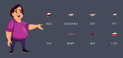 synchronisation des lèvres de garçon mignon pour l'animation, la conception de mouvement ou autre chose. caractère personnalisé pour la conception, le mouvement ou l'animation.