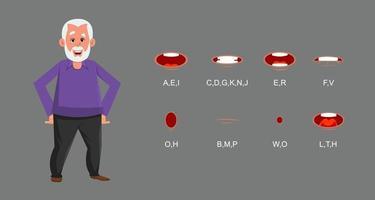 personnage de vieil homme avec synchronisation labiale. personnage pour une animation personnalisée.