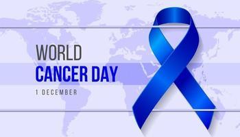 fond réaliste de la journée mondiale du cancer avec le symbole du ruban et la terre. illustration vectorielle pour le concept de la journée mondiale du cancer du sein.
