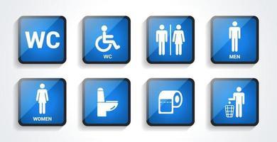 icônes de toilettes définies avec une ombre. signes de toilettes, icônes de toilettes. signes de salle de bain wc. design plat. illustration vectorielle.