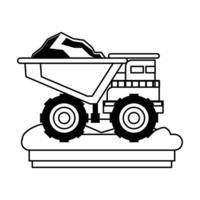 Machines de véhicule minier vue latérale isolée en noir et blanc vecteur