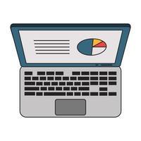 ordinateur portable avec symbole de profit de statistiques commerciales vecteur