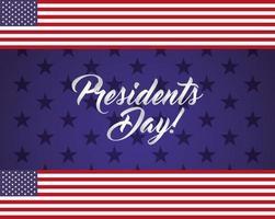 affiche de fête des présidents heureux avec lettrage et drapeau