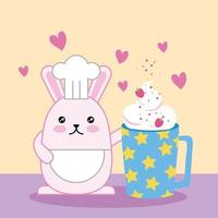 kawaii mignon petit lapin avec smoothie aux fraises vecteur