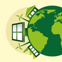 affiche écologique avec planète terre et panneau solaire