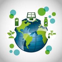 affiche écologique avec la planète terre et les icônes