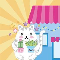 kawaii mignon petit chat avec des plantes