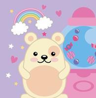 mignon petit ours avec machine à bonbons, personnage kawaii