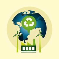 affiche écologique avec la planète terre et le symbole de recyclage