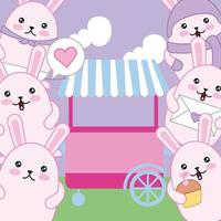 mignons petits lapins avec chariot, personnages kawaii