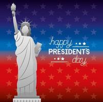 affiche de fête des présidents heureux avec statue américaine