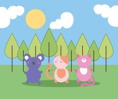 mignons petits animaux dans la forêt