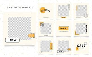 promotion de vente de mode de blog de bannière de modèle de médias sociaux. affiche de vente organique entièrement modifiable de puzzle de cadre de poteau carré. fond de vecteur de forme élément jaune frais