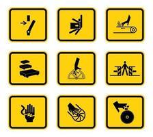 Avertissement symboles de danger étiquettes signe isolé sur fond blanc vecteur