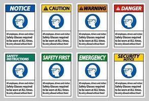 tous les employés, conducteurs et visiteurs, des lunettes de sécurité doivent être portées en tout temps vecteur