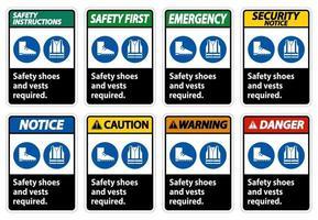 Chaussures de sécurité et gilet requis avec symboles ppe sur fond blanc