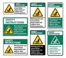 consignes de sécurité les pièces mobiles peuvent causer des blessures sur fond blanc vecteur
