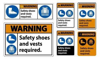 Panneau d'avertissement chaussures de sécurité et gilet requis avec symboles ppe sur fond blanc vecteur
