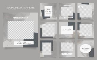 promotion de vente de mode de blog de bannière de modèle de médias sociaux. affiche de vente organique entièrement modifiable de puzzle de cadre de poteau carré. fond de vecteur aquarelle gris marron