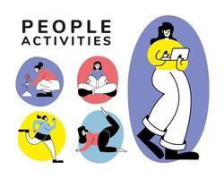 ensemble de personnes faisant plusieurs activités