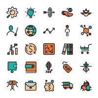 icônes de contour de conception de marketing commercial avec remplissage de couleur. infographie vectorielle.