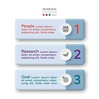 3 étapes du label décrivent le processus métier global d'autres travaux. conception infographique de vecteur. vecteur