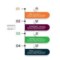 workflow de forme d'étiquette 4 étapes décrivant les procédures de travail, montrant les processus de travail et les fonctions. conception infographique.