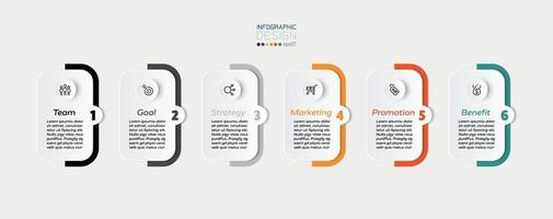 carrés et barres colorées, 6 étapes pour présenter ou planifier un workflow dans une entreprise ou autre travail. conception infographique.