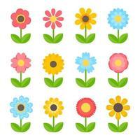 conception de fleurs colorées simples pour les enfants isolés sur fond blanc vecteur